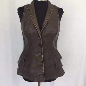 V Cristina Brown Faux Leather Ruffled Lined Vest M
