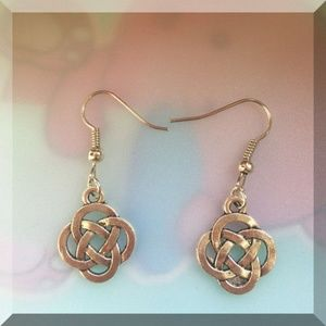 Jewelry - Handmade Antique Silver Chinese Knot Earrings