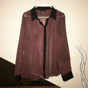 XL Maroon Long Sleeve Blouse