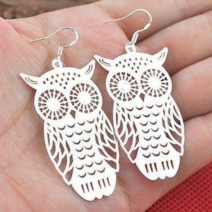 925 Sterling Silver Owl Earrings