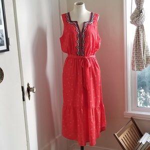 Gap Red Boho Floral Print Dress