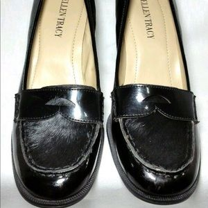 Ellen Tracy Patent Leather/Pony Hair Loafers