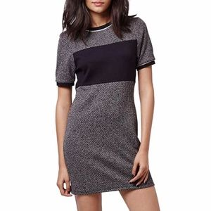 Topshop Colorblock Herringbone Shift Dress