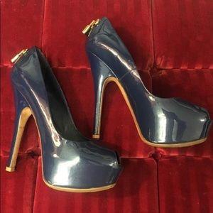 Louis Vuitton Navy Peep Toe Stilettos