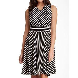 max studio • stripe fit and flare dress