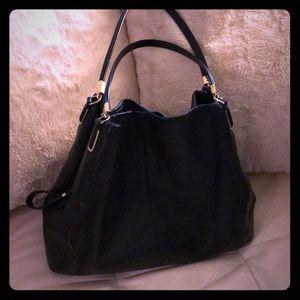 Black pebbled leather Coach Edie purse