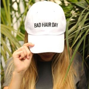 Accessories - 'Bad Hair Day' White Baseball Cap