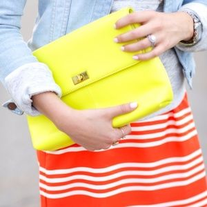 J. CREW Vero Clutch Bag Neon Yellow
