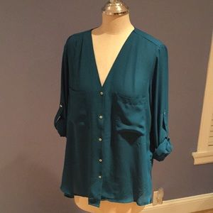 Teal Silky Blouse Mother of Pearl Buttons Size 10