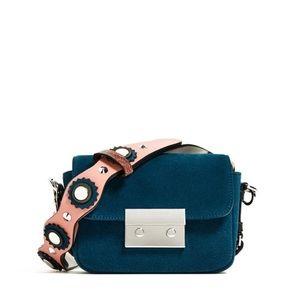 Zara Suede Teal Small Crossbody Bag