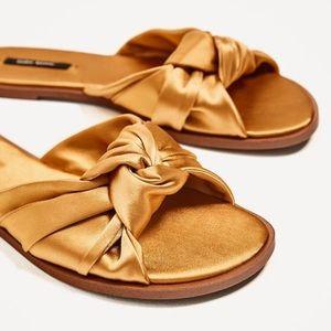 ZARA Basic - NWT Gold Bow Sandals Size 6 1/2