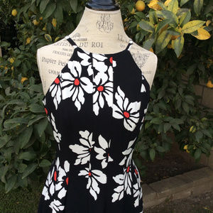 Adrianna Papell Black with White Flowers Dress 8