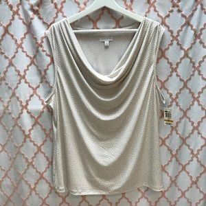 NWT tan & ivory sleeveless blouse by Charter Club