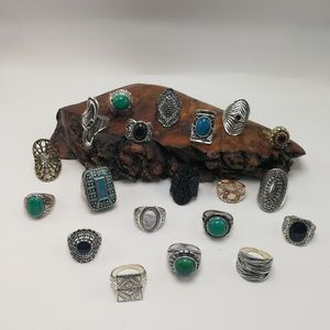 Huge Bundle lot 20 ring Turquoise silver Christmas