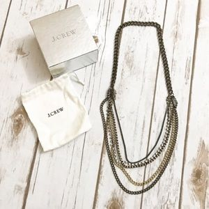J. CREW Multi strand Necklace with Box & Pouch