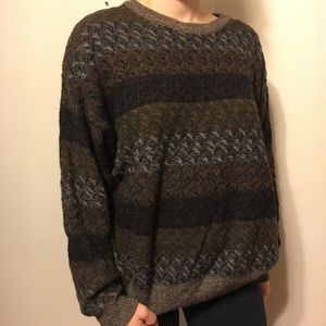 Vintage Grandpa sweater earth tones medium