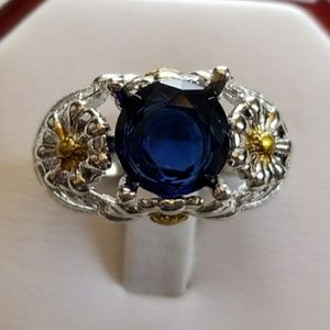 Genuine 3.1ct Blue Sapphire Ring Size 8