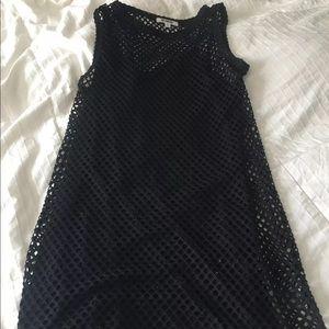 Black dress with mesh overlay