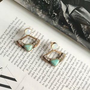 New Fan Shape Boho Style Stone Like Stud Earrings