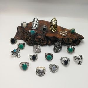 NWT HUGE Bundle lot 20 ring silver Turquoise stone