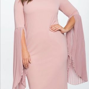 ELOQUII Pleated Flare Sleeve Pink MIDI Dress
