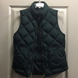 J. Crew Forest Green Quilted Vest