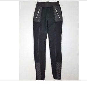 H&M Black Biker Leggings with faux leather accents
