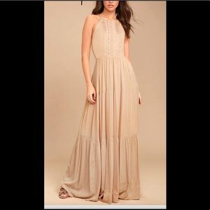 Lulu's Tan Maxi Dress