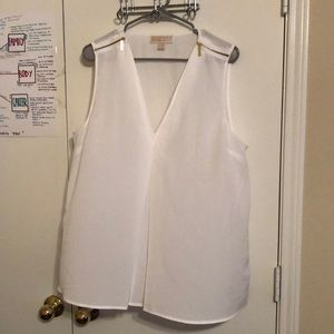 White Sleeveless Michael Kors Tank with Zippers