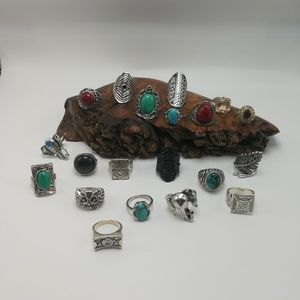 Bundle 20 rings silver Turquoise Christmas gifts
