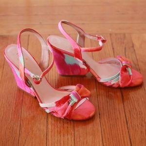 Kate Spade Watercolor Coral Bow Wedge Sandal Heels