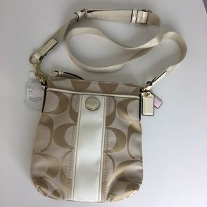 Coach White & Khaki Signature Crossbody Purse Bag