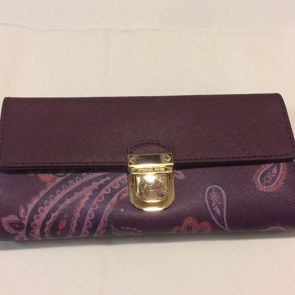 a9b21b8c0f5e MK BridgettePaisley Plum Lthr Carryall Flap Wallet. Boutique. MICHAEL  Michael Kors