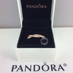 New Boxed Pandora Rose Twist Of Fante Ring