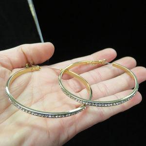 bebe gold crystal hoop earrings  NWOT BBE39nc