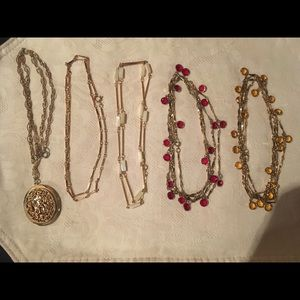 Vintage Crystals & Locket Gold Necklace Lot