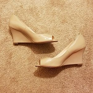 Cole Haan Grand OS Patent Nude Peep Toe wedges