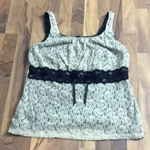 Maurices 3 Sexy Beige Lace Stretch Tank Top