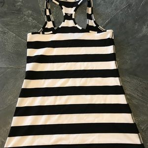 Lululemon black and white striped Cool Racerback