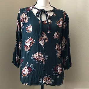 Staccato Floral Blouse with Neck Tie Detail