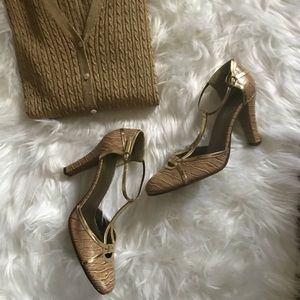 Nine West Leather T-Strap Heels