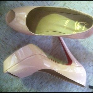 Leather high heels pink red soles size 7.5
