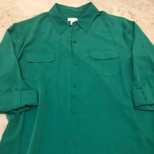 Bright Green Chico's Button Down Blouse