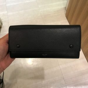 Celine Two Tone Snap Button Continental Wallet