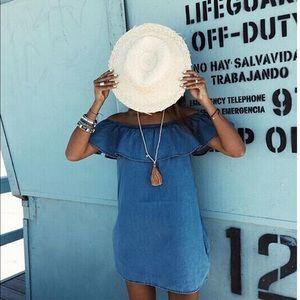 Dresses & Skirts - 'Addison' Off The Shoulder Denim Dress