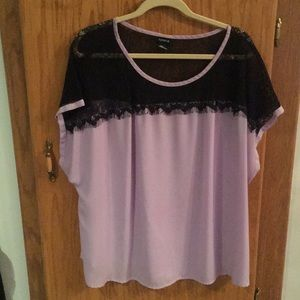 Torrid Lilac and Black Lace-Yolk Blouse