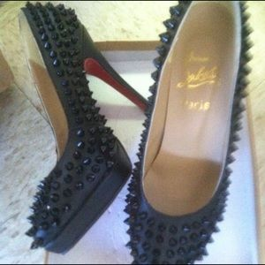 Leather high heels spike red soles size 7.5