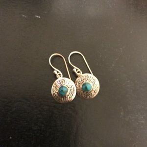 Turquoise & Round Sterling Silver Ear Rings