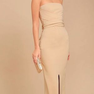 Elegant Beige Maxi Dress