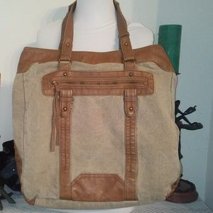 Converse large tote bag canvas/faux leather EUC